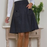 Klasyczna popielata spódnica Heppin z kieszonkami midi  jesienno-zimowa 2012/13