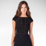 klasyczna sukienka Stradivarius w kolorze czarnym z ćwiekami - jesień - zima 2012/13