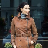 Klasyczny brązowy płaszcz Heppin skórzany jesień-zima 2012/13