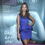 kobaltowa z baskinką sukienka - Klaudia Halejcio