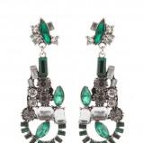 kolczyk Parfois z kamieniami w kolorze zielonym - modne dodatki