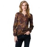 Kolekcja Tommy Hilfiger brązowa bluzka we wzorki  na jesień i zimę 2012/2013