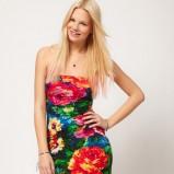 kolorowa sukienka wieczorowa w kwiaty - wiosna/lato 2012