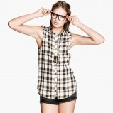 koszula H&M w kratkę bez rękawów - moda na lato 2013