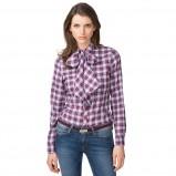 koszula Tommy Hilfiger w kratkę w kolorze fioletowym - moda na jesień i zimę