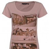 koszulka Top Secret z nadrukiem w kolorze wrzosowym
