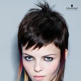 Krótka fryzura z dłuższymi kolorowymi pasmami