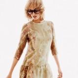 krótka sukienka H&M w kolorze beżowym - wiosna i lato 2013