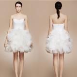 Krótka sukienka ślubna z falbanami