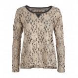 ładna z długam rękawem bluzeczka Lindex w kolorze beżowym - moda damska