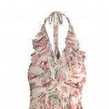 łososiowa sukienka Elisabetta Franchi Celyn b w kwiaty - lato 2011