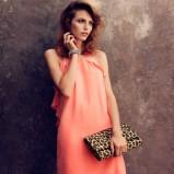 łososiowa sukienka H&M  - trendy wiosna/lato 2013