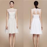 Mała biała sukienka ślubna z koronką