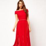 maxi sukienka wieczorowa Asos w kolorze koralowym - zima 2012/2013
