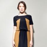 modna sukienka Langner w kolorze czarno - musztardowym - ubrania na jesień