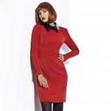 modna sukienka Sesst w kolorze bordowym z skórzanym kołnierzykiem  - kolekcja jesienno - zimowa 2012/13