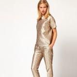 modne spodnie Asos w kolorze złotym - stylizacja na wieczór