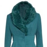 Modny turkusowy płaszcz Mohito podkreślająca talię jesienny hit 2012/13
