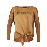 musztardowa bluzka Sesst z napisami - wiosna/lato 2012