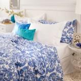 Nastrojowa wzorzysta pościel w kolorze niebieskim -modna sypialnia 2013