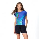 niebieska koszulka Promod z nadrukiem - lato 2012