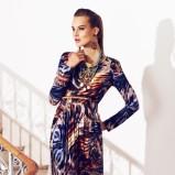 niebieska sukienka Marks & Spencer we wzory długa - kolekcja wiosenna