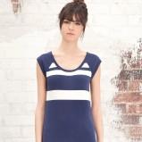niebieska sukienka Stradivarius w pasy - lato 2012