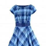 niebieska sukienka Tatuum w kratkę rozkloszowana - moda 2011