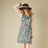 niebieski sukienka Promod w kwiaty - moda jesienna
