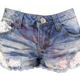 niebieskie szorty Atmosphere z koronką jeansowe