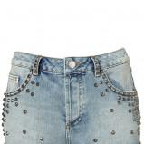 niebieskie szorty Topshop z ćwiekami jeansowe