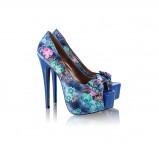 niebieskie szpilki DeeZee w kwiaty - sezon wiosenny