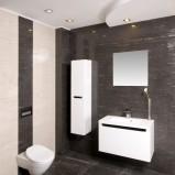 Nowoczesna łazienka w kolorze popielu z białą armaturą -inspiracje do łazienki