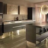 Nowoczesna wyspa kuchenna w kolorze czarnym z półkami najnowsze trendy kuchenne