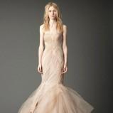 oryginalna  beżowa suknia ślubna typu syrena Vera Wang   trendy zimowe