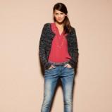 Oryginalna granatowe jeansy Motivi z przetarciami  kolekcja jesienno-zimowa