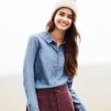 Piękna błękitna koszula H&M luźna jesienno-zimowa 2012/13