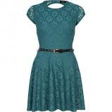piękna sukienka River Island rozkloszowana w kolorze ciemnozielonym - kolekcja damska jesień-zima 2012/2013