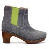 piękne na drewnianym obcasie botki Loft37 w kolorze szarym - modne buty dla kobiet