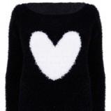 Piękny czarny sweter Tally Weijl z sercem moda jesień/zima