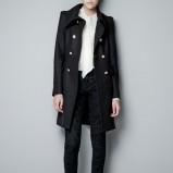 płaszcz ZARA w kolorze czarnym - moda damska jesień-zima 2012/2013