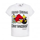Ponadczasowa biała koszulka Cropp z nadrukiem Angry Birds moda jesień- zima 2012/13