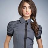 popielata bluzka Nife z kołnierzem - wiosna/lato 2012