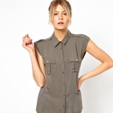 popielata koszula Asos bez rękawów - moda na lato 2013