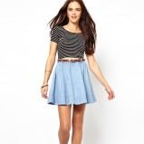 rozkloszowana spódniczka Asos w kolorze błękitnym - letnie ubrania