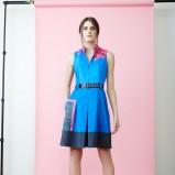 rozkloszowana sukienka Akris w kolorze niebieskim - wiosna 2014