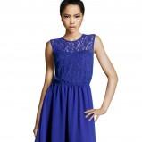 rozkloszowana sukienka H&M w kolorze niebieskim - sukienka na studniówkę
