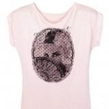 różowa koszulka Mohito z aplikacją - zima 2011/2012