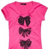 różowy t-shirt Reserved z kokardkami - lato 2012