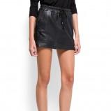 skórzana spódnica Mango w kolorze czarnym - moda damska